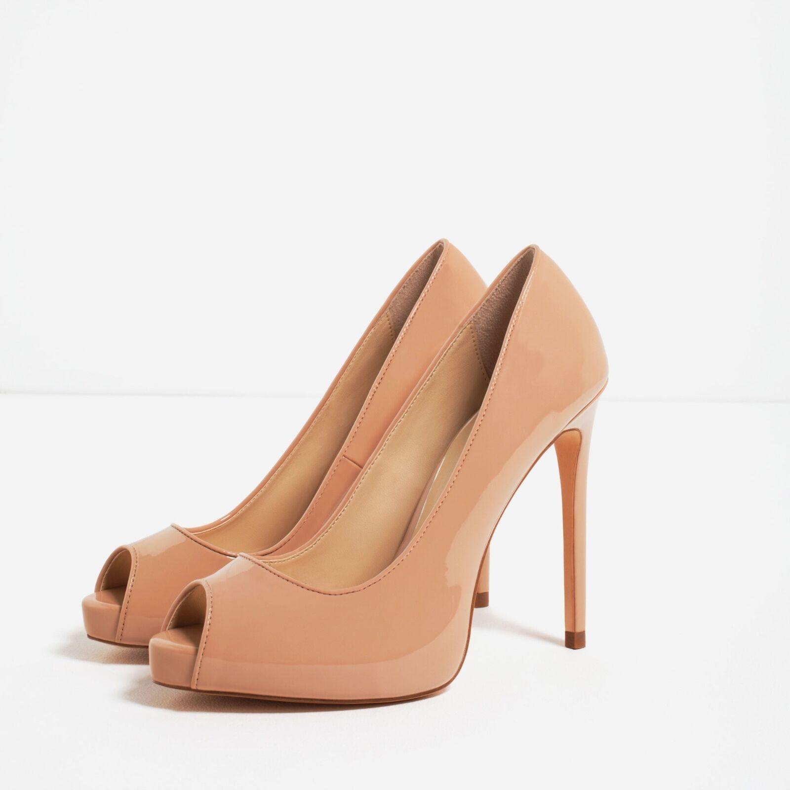 Zara Nude Nude Nude Patent Finish High Heel schuhe, Größe 40 cdb78f