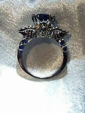 SKULL RING BLUE CRYSTAL GOTH SILVER WINGS PUNK VAMPIRE VANCARO STYLE NEW WEDDING