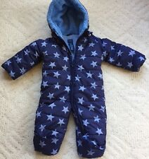 FALLS CREEK 6-9 Months Baby Boys Blue STARS Footed Snowsuit Hood Sherpa Winter