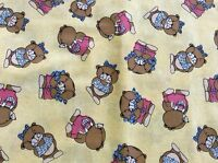 Bears In Pink & Blue Clothes On Yellow Cotton Fabric-- By The Yard