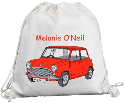 Cream Drawstring Cotton Red Retro Fun Car Rucksack PE Bag Personalised