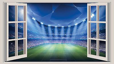HUGE 3D WINDOW WALL ART STICKER - FOOTBALL STADIUM 1 vinyl art decal wallpaper