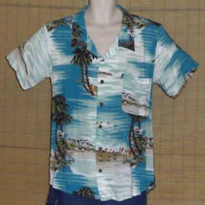 Pineapple-Connection-Hawaiian-Shirt-Turquoise-Island-Beach-Natives-Size-Medium