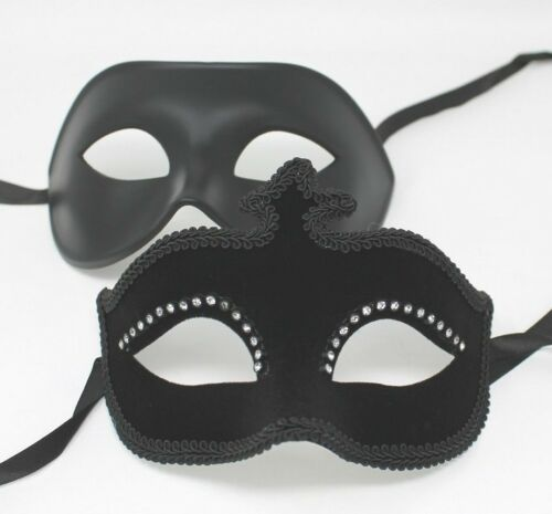 HIS N HERS PAIR COUPLES BLACK JEWELLED VENETIAN MASQUERADE PARTY EYE MASKS