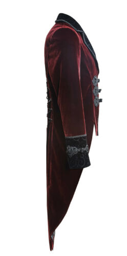 Embroidered velvet tailcoat jacket gothic victorian retro military PunkRave Men