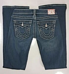 True-Religion-Joey-Big-T-Flare-Low-Rise-Bling-Thick-Stitch-Womens-Jeans-27-x-33