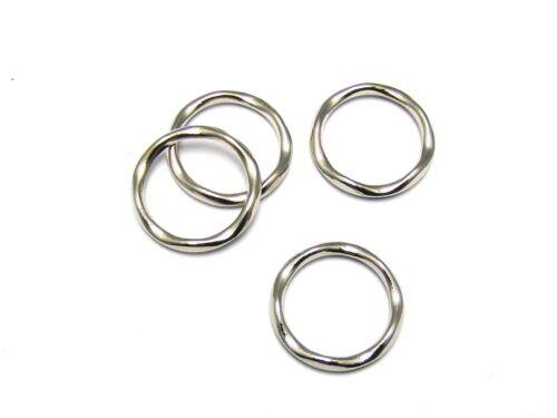 Métal perle ring-Connecteurs ondulés 30mm argent #u187