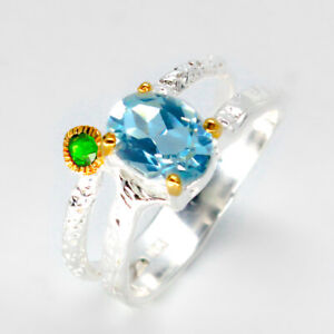 14k-Gold-solid-fashion-jewelry-Natural-Blue-Topaz-925-Sterling-Silver-Ring-RVS41