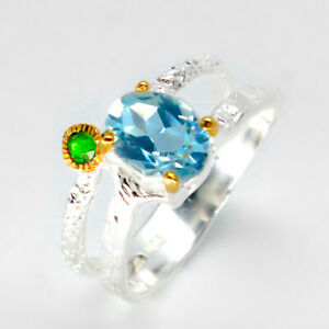 Natural-Blue-Topaz-925-Sterling-Silver-Ring-RVS41-Silberring-Chrome-diopside