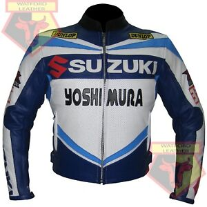 SUZUKI-4212-YOSHIMURA-BLUE-MOTORBIKE-MOTORCYCLE-COWHIDE-LEATHER-ARMOURED-JACKET