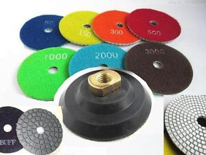 Diamond Polishing Pads 4 inch Wet/Dry 18 PCS + Damo Buff Granite Stone Concrete