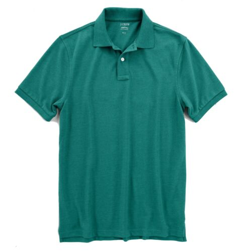 J.Crew Factory Green Pique Cotton Short Sleeve Polo Mens L Slim Fit NWT