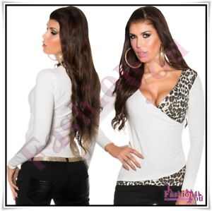 Womens-Jumper-Wrap-Sweater-Casual-V-Neck-Leopard-Ladies-Pullover-One-Size-8-12