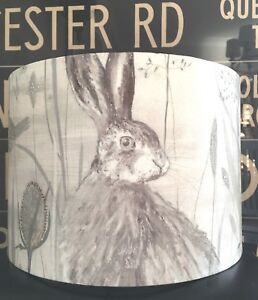 Image is loading HANDMADE-LAMPSHADE-IN-SANDERSON-DUNE-HARES-FABRIC-MIST-
