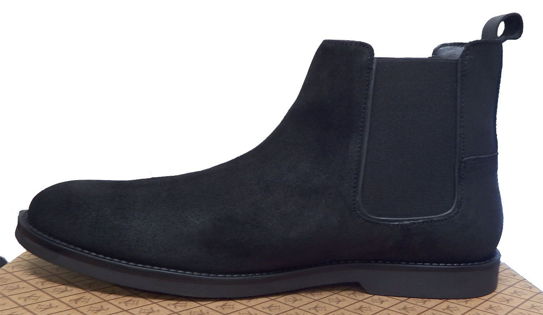 Penguin Mens Lesta Black Suede Twin Gusset Desert Chelsea Boots