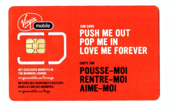 Carte Sim Canada.X Virgin Mobile Canada Mini Standard Size Un Activated Swap Sim Card