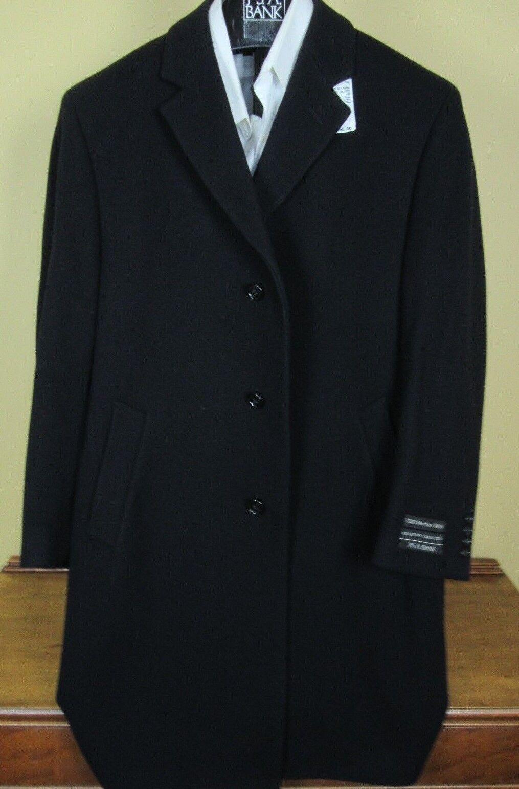 495 New Jos A Bank 100% Merino wool Solid Navy Blau  topcoat  40 S full length