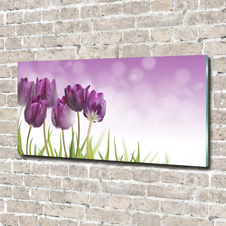Wandbild aus Plexiglas® Druck auf Acryl 140x70 Blaumen & Pflanzen lilate Tulpen