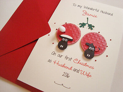 Personalised Reindeer Handmade Christmas Card First as Mr /& Mrs//Husband /& Wife