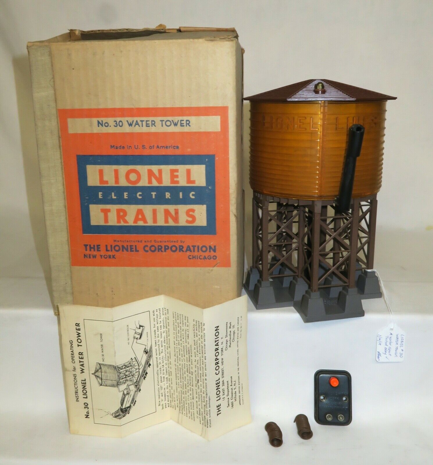 LIONEL POSTWAR 30 OPERATING WATER TOWER - RARE - WITH OB, CONTROLLER, WIRES