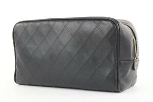 Chanel Black Quilted Lambskin Toiletry Pouch Cosmetic Bag 295cas513