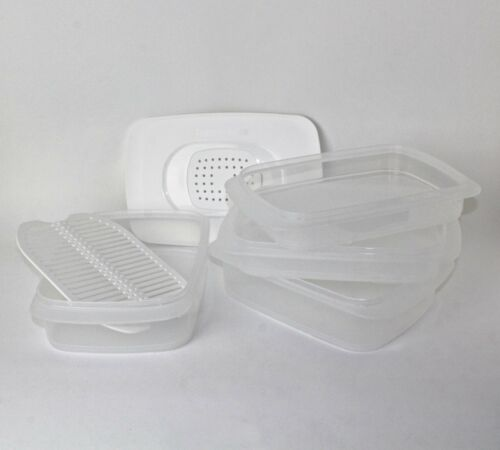 Tupperware Cool /'n Fresh 2x700ml+1x 1,5l recipientes rejilla 1x tapa del clima blanco 1x