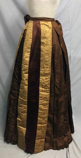 #21-133, 1880's Gold Moiré & Brown Silk Bustle Skirt