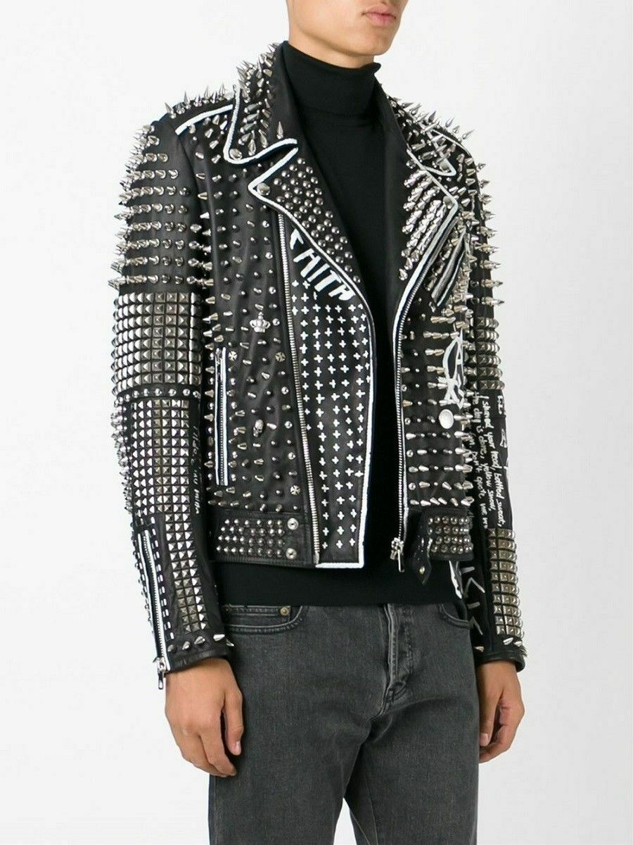 New Mens Silver Studded Leather Jacket Handmade Black W