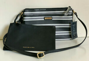 NEW TOMMY HILFIGER BLACK GRAY WHITE CROSSBODY SLING BAG W/ WALLET POUCH $75 SALE