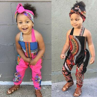 2PCS Toddler Kids Baby Girl African Print Sleeveless Romper Jumpsuit Headband ED