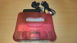 Console-Nintendo-64-CLEAR-RED-WHITE-jeux-import-JAP-bon-etat-n64-retro-arcade