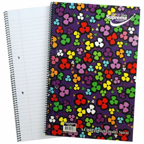 Spiral A4 160 Pages High Quality Spiral Notebook Notepad Supreme Stationary