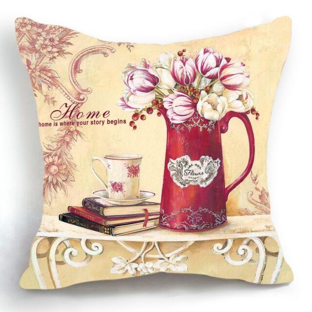 Retro Vintage Red Vase Tulip Flower Decorative Pillow Case Cushion Cover 18''