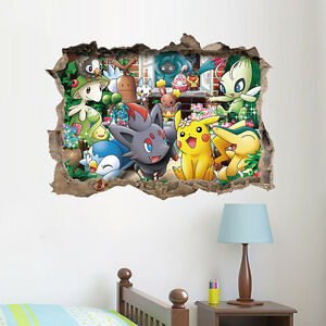 Diy pokemon go pikachu 3d art vinyl wall decals sticker for 3d home decoration games