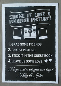 Polaroid Wedding Guest Book.Details About Personalised Chalkboard Style Wedding Polaroid Guest Book Sign Poster Print