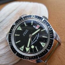Vintage Orvin Diver Watch w/Warm Patina,Big Lollipop Seconds Hand,Roulette Date