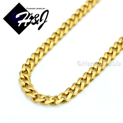 """16-24/""""Stainless Steel 3mm Gold Cuban Curb Chain Necklace CZ Cross Pendant*GP53"""