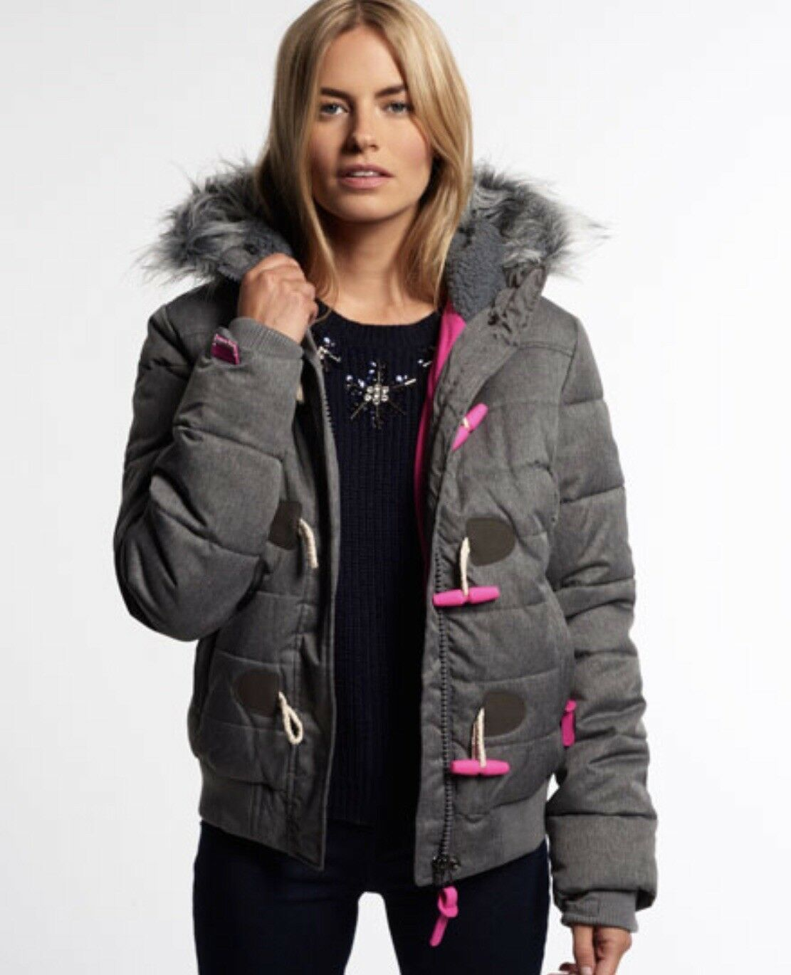 Superdry JPN Marl Toggle grau Puffer Jacket-grau Gr.M UK M US 8