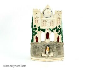 Antique-Staffordshire-Pearlware-Pottery-Floral-Clock-Tower-Castle-Spill-Vase