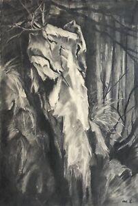 Charlotte-Zurek-1910-1971-carbon-dibujo-paisaje-con-rocas-en-el-claro-de-luna