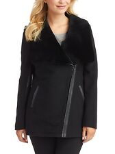 Nwt $550 7 For All Mankind Drape Front Shearling Fur Cocoon Coat Jacket Black 6