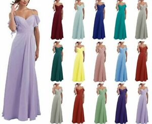 Chiffon-Straps-Long-Bridesmaid-Prom-Dresses-Formal-Evening-Party-Gown-Size-6-20