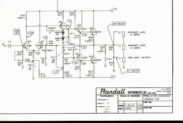 Randall Instruments RB-60-115 Bass Guitar Amplifier Schematic Diagram HQ  Copy* | eBayeBay