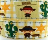 "2 metres WANTED COWBOY 38mm Printed Grosgrain Ribbon 1.5"" RNB"