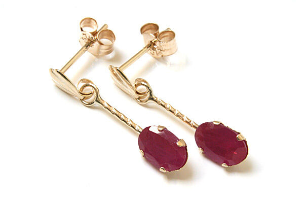 9ct gold Ruby short oval Drop earrings Gift Boxed Made in UK