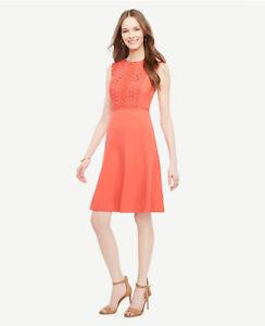 d61b10f13359 Ann Taylor - Size 10 Coral Blaze Lace Trim Flare Sleeveless Dress ...