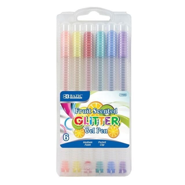 PACK 3 18 FRUIT SCENTED GLITTER GEL PEN MEDIUM POINT POCKET CLIP