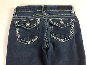 Daytrip-Jeans-Lynx-Skinny-Buckle-Womens-26-Short-Stones-29-x-26-Actual-Bling