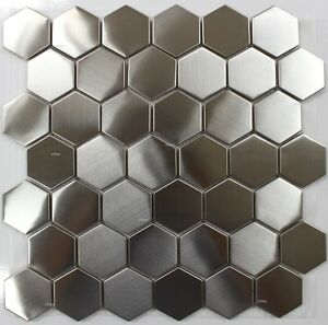 Image Is Loading Stainless Steel Hexagon 2 034 Mosaic Back Splash
