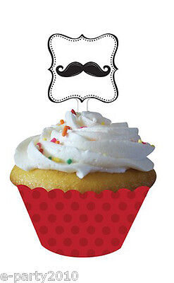 MUSTACHE MADNESS CUPCAKE WRAPPERS w/ TOPPERS (12) ~ Birthday Party Supplies